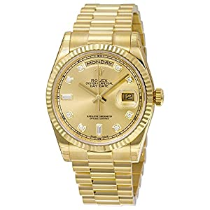 Rolex Day-Date Automatic Champagne Dial 18kt Yellow Gold Mens Watch 118238CDP from Rolex