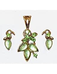 DollsofIndia Light Green Stone Studded Pendant And Earrings - Metal And Acrylic Bead - Green