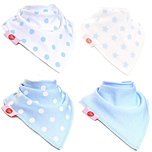 Zippy Fun Baby and Toddler Bandana Bib - Absorbent 100% Cotton Front Drool Bibs with Adjustable Snaps (4 Pack Gift Set) Boys Blue and White