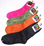 Soft Warm Microfiber Fuzzy Socks in Your Choice of Olive Green, Fuschia or Black