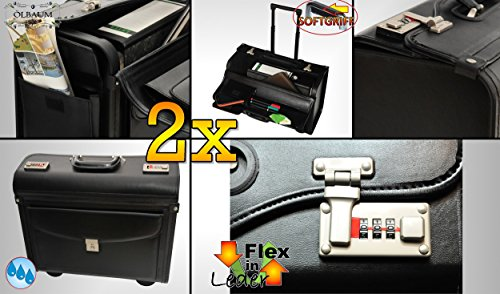 2x Premium Weatherproof Stable, Large Pilot Case with 4Wheels Black Robust Xxl Hardcase Suitcase Stable, Generously Leather PU Leather Case PU Leather Pocket Case/Cover/Pouch-Spacious Bag with Trolley