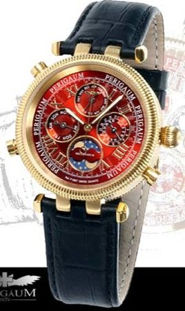 Perigaum Men's Millennium Calendar GG Watch - Red Dial - P-0507-GGR
