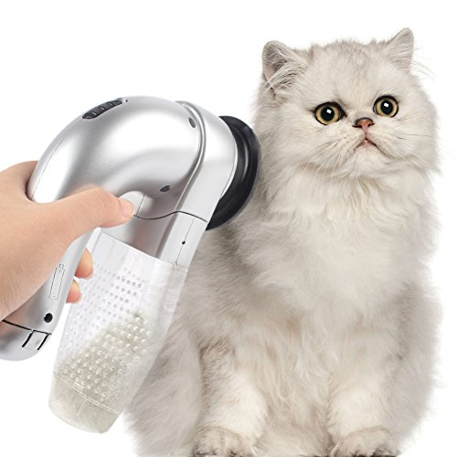 Aytai Professional Handheld Pet Shed Pal Dog Cat Hair Dander Removal Vacuum Cleaner Battery Powered Portable Fur Suction Grooming Electric Device Incredible Cordless Pet Vac Massager Brush (Silver)