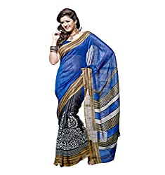 Nistula Bhagalpuri Silk Saree With Unstitched Blouse Piece [MA6002-B_Black & Blue] | Marhab 6002-B