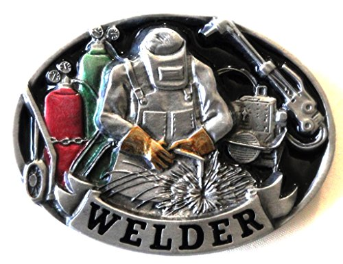 WELDER PEWTER BELT BUCKLE - COLOR ENAMEL - MADE IN USA BY C&J