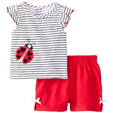 Kids Headquarters Baby-Girls Newborn Black and Top with Shorts Lady Bug, Red, 3-6 Months