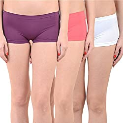 Mynte Women's Sports Shorts (MEWIWCMBP-SHR-103-102-101, Purple, Pink, White, Free Size, Pack of 3)
