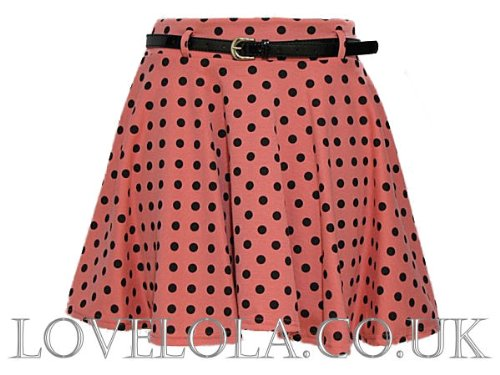 Womens Skirts Ladies Short Skirts Girls Skater Skirt Polka Dot Coral Black Sizes 10-14
