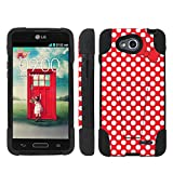 Mobiflare LG Optimus LGL90 L90 Red/White Polk-a-Dots with Bow Armor Kick Grip