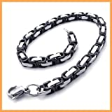K Mega Jewelry Chain Black Stainless Steel Mens Bracelet Width:5mm Length 8.3