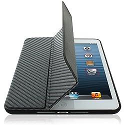 KHOMO For Apple iPad Mini & iPad Mini Retina Display Super Slim Dual Carbon Fiber Cover FRONT + Black Hard Rubberized BACK Case (Built-in magnet for sleep / wake feature)