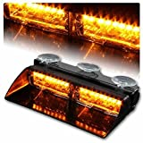 16LED Law Enforcement Emergency Hazard Traffic Warning Strobe Lights Lamp Bar Kit Memory Function for Vehicle Car Truck SUV Interior Roof / Dash / Windshield with 18 Flash Modes & Suction Cups-Amber