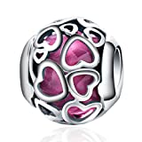 BAMOER 925 Sterling Silver Cerise Crystal Encased In Love Nice Charms For Women Fit European Bracelets