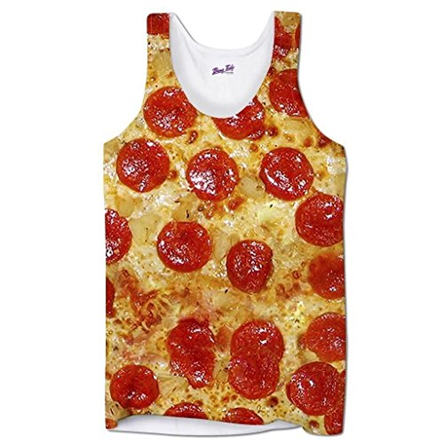 Pepperoni Pizza Tomatoe Base Fast Food Cheese Funny Holiday Beach Mens Vest - XL