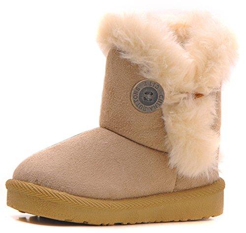 Femizee Girls Boys Warm Winter Flat Shoes Bailey Button Snow Boots(Toddler/Little Kid),Beige,5 M US Toddler