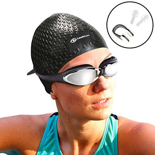 i Swim Pro - Long Hair Swimming Cap, Nose Clip and Ear Plugs - Comfortable Fit: Easy on! Easy off! (Swim Long Hair Nose Clip compare prices)