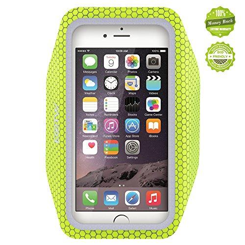 iPhone6アームバンドケース 厚さ僅か2mmの超薄型,EOTW iPhone6 / 6S 4.7インチ スポーツアームバンド ランニング スマホケース 防水 超軽量 キーポケット付 (蛍光緑)