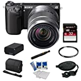 Sony NEX-5R NEX5R, NEX5RKB, NEX5RK 16.1 MP Compact Interchangeable Lens Digital Camera with 18-55mm Lens and 3-Inch LCD in Black + Sony 32GB Class 10 SD Card + Sony Camera Case + Replacement Battery Pack + Tiffen 49mm Filter + Accessory Kit
