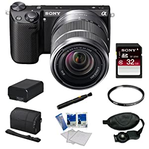 Sony NEX-5RK/B 16.1 MP Compact Interchangeable Lens Digital Camera with 18-55mm Lens and 3-Inch LCD in Black + Sony 32GB Class 10 SD Card + Sony Camera Case + Replacement Battery Pack + Tiffen 49mm Filter + Accessory Kit