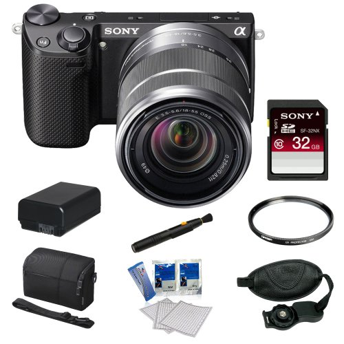 Sony Nex 5rk B 16 1 Mp Compact Interchangeable Lens Digital Camera With 18 55mm Lens And 3 Inch Lcd In Black Sony 32gb Sdhc Sony Camera Case Replacement Battery Pack 49mm Filter