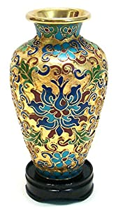 Chinese Art / Chinese Collectibles: Small Chinese Cloisonne Vase - Wealth Flowers