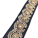 Indian Ethnic Black Trim Handmade Stone Beaded Work Sewing Apparel Border Lace 3 Yd