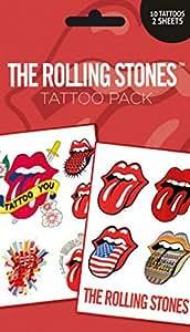 1art1 68796 Rolling Stones - Lips, 10 Tattoos Tattoo Pack 17 x 10 cm