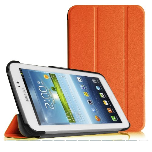 Tab 3 Case, Samsung Tab 3 7.0 case, Speedtek (Orange) Ultra Slim Lightweight Stand Smart Shell Stand Case for Samsung Galaxy Tab 3 7.0 inch SM T2100 / SM T2110 P3200 / P3210 / T210 / T211Android Tablet (WILL NOT Fit Samsung Galaxy Tab 4 7.0)