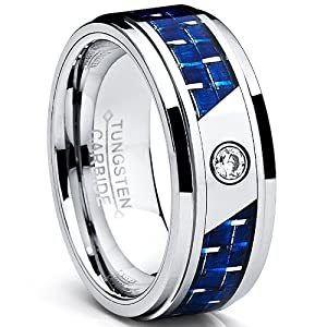 8MM Men's Tungsten Carbide Ring W/ Blue Carbon Fiber Inaly and CZ Size Z+1