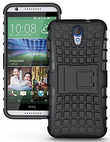 Cubix Defender Series Dual Layer Hybrid TPU + PC Kickstand Case Cover for HTC Desire 620 dual sim (Black)