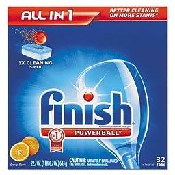 RECKITT BENCKISER PROFESSIONAL Powerball Dishwasher Tabs, Orange Scent, 32/Box (81095)