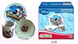 Mickey and Minnie 3 Pc Porcelain dinner Set in Printed Gift box, 8 oz Mug, 7.5 Rim Plate, 5.5 Bowl (No Florida)