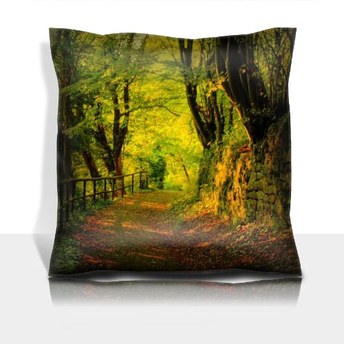 Autumn Forest Green Leaf Nature Road Tree 100% Polyester Filled Comfort Square Pillows Customized Made To Order Support Ready Premium Deluxe 17 1/2 Inch X 17 1/2 Inch Liil Graphic Background Covers Designed Color Definition Quality Simplex Knit Fabric Sof front-919898