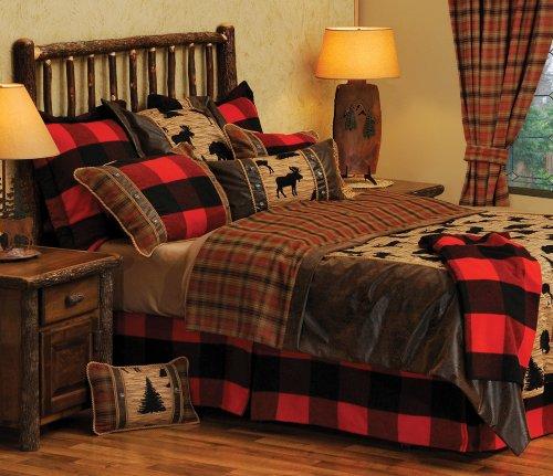 Wooded River Moose & Plaid Bedding Set