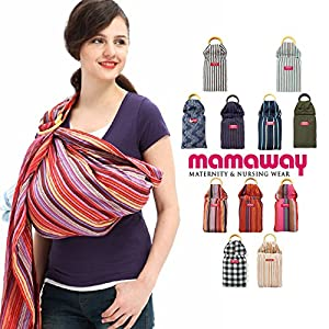 Mamaway Ring Sling Baby Carrier - One Size Fits All - Easy On Your Back - Comfort For Your Baby - Can Be Used For Different Positions - Breastfeeding Privacy - Rainbow Mocca