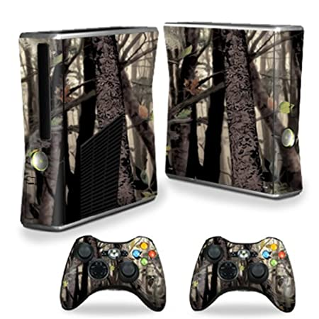 Protective Vinyl Skin Decal Cover for Microsoft Xbox 360 S Slim + 2 Controller Skins Sticker Skins Tree Camo