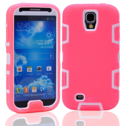 Magicsky Robot Series Hybrid Armored Case For Samsung Galaxy Iiii S4 I9500 - 1 Pack - Retail Packaging - White/Hot Pink