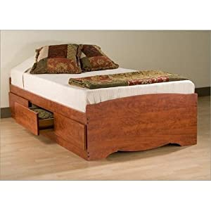Twin 3 drawer platform storage bed cherry for Twin bed base with storage