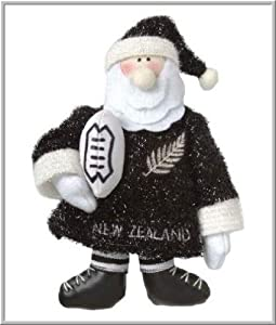 New Zealand Rugby Santa Christmas Decoration and Ornament.