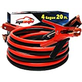 EPAuto 4 Gauge x 20 Ft 600A Heavy Duty Booster Jumper Cable with Travel Bag and Safety Gloves (4 AWG x 20 Feet)