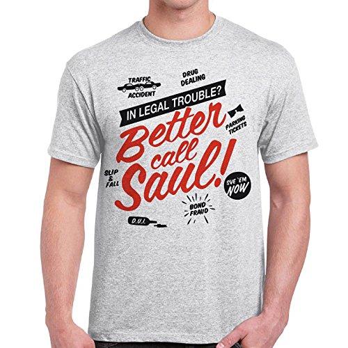 CHEMAGLIETTE! - Maglietta Better Call Saul Goodman Legal Breaking Bad T-Shirt Cotone Uomo, Colore: Cenere, Taglia: M