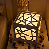 Geometric Hollow-Out Panel Lamp, Night Light for Bedroom, Dorm, Living Room (Corded-electric, White)