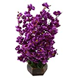 Thefancymart artificial Flower plant with Wooden pot Style Code-40