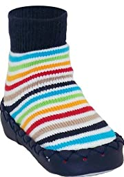 Konfetti Navy Colorful Stripes Moccasin (4Y)