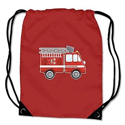 Turnbeutel Cooles Feuerwehrauto Sportbeutel für Schule Sport Sporttasche Bag Base® BG10 Gymsac 8 Farben 45 x 34 cm