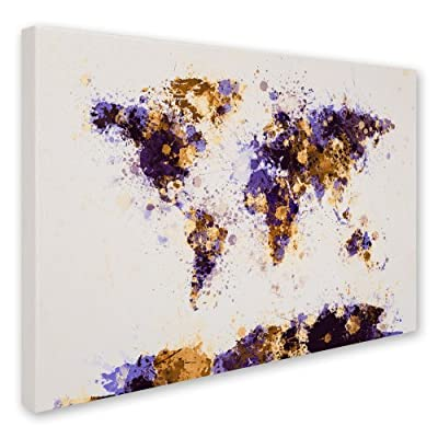 Trademark Fine Art Paint Splashes World Map 4 by Michael Tompsett Canvas Artwork