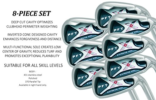 PFT X9 High Moi Extreme 9 Iron Set Golf Clubs Custom Made Right Hand Stiff S Flex Steel Shafts Complete Mens Irons Ultra Forgiving OS Oversized Wide Sole Ibrid Club (Extra Stiff Golf Clubs compare prices)