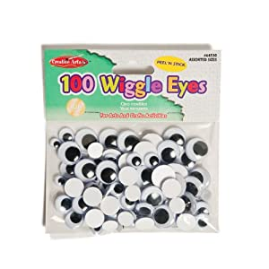 Creative Arts by Charles Leonard Wiggle Eyes, Peel'n Stick, Black, Assorted Sizes, 100/Bag (64530)