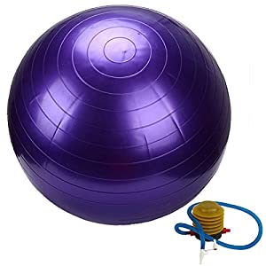 55cm Purple PVC Yoga Ball With Air Pump For Gym Home Exercise Pilates