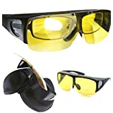 Agstum Fit Over Eyeglasses Polarized Night Driving Flip up Sunglasses Goggles